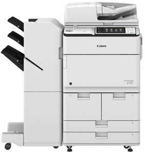 Canon imageRUNNER Advance 6565i  prints up to 65 ppm in black and white.  Its single-pass, duplexing document feeder holds up to 300 originals,  and can scan up to 240/220 IPM. Authentication with Universal Login Manager (ULM). Motion sensor sleep mode. Produces consistently striking black-and-white tones at up to 1200-dpi resolution. Standard Genuine Adobe-PostScript and PCL support.